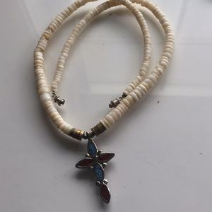 Shell necklace with cross